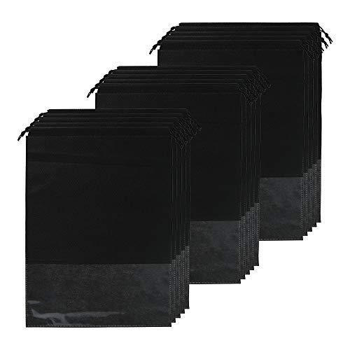 Sacchetti per Scarpe 15 PCS Borsa per Scarpe da Viaggio Sacchetti Porta Sacca da Viaggio Impermeabile Multi-Funzione Antipolvere Trasparenti Borse per Scarpe non Tessuto 44 * 32 cm (Nero)