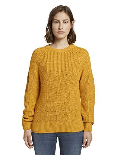 TOM TAILOR Denim Damen Strickpullover Basic Halfcardigan, Gelb (10410-Indian Spice Yellow), M