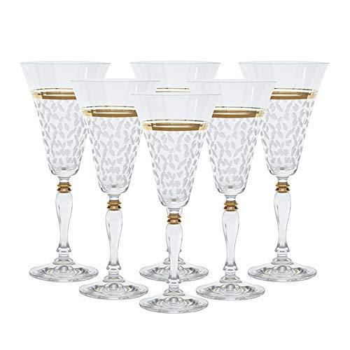 Helen ハンドクラフトレッドワイングラス6個セット (12オンス) | ハンドペイント24Kゴールドトリムディテール | ハンドカットレインドロップパターン | あらゆる機会に豪華なギフト | 100%鉛フリープレミアムボヘミアンクリスタル