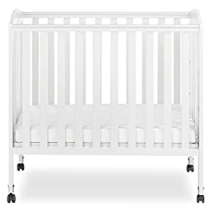 crib bedding and baby bedding dream on me 3 in 1 portable folding stationary side crib in white, greenguard gold certified, mini crib