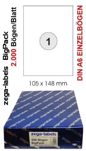 2.000 Etiketten 105 x 148 mm selbstklebend einzeln = DIN A6 Bögen (1x1 Etikett DIN A6) - 2.000 Blatt BigPack - Universell für Laser/Inkjet/Kopierer einsetzbar - Adressetiketten 148 x 105 mm einzeln