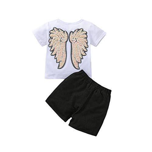 Toddler Baby Girls Summer Clothing Sets Sequins Angel Wings Printed Short Sleeve T-Shirt + Elastic Short Pants 2pcs Outits Sets (Black White, 18-24 Months)