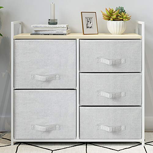 Saadiya Grey Chest of 5 Drawers Storage Cabinet with Fabric Drawers Clothing Organizer Unit for Closet with Sturdy Metal Frame Furniture Bedroom Living Room Kids Room Dorm Room (Grey, 5 drawers-tall)