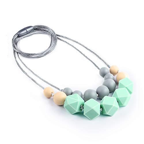 Collar Mordedor, Yuccer Silicona Collar de Lactancia Antibacterial Colgantes de Dentición para Bebé, BPA Libre (Azul)