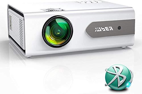 Proyector Bluetooth,YABER V3 6000 Lúmenes Mini Proyector Portátil Full HD 1080P Soporta, Proyector 720P Cine en Casa 80000 Horas, Función de Zoom, para PS4, TV Stick iPad Altavoz Auricular Bluetooth
