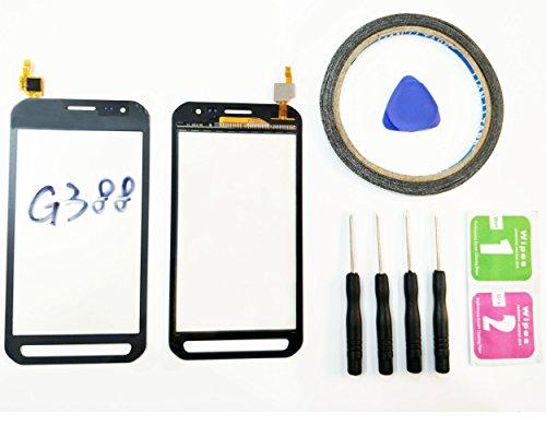 JRLinco Für Samsung Galaxy Xcover 3 SM-G388F G388 (Ohne LCD) Outer Glas Lens Touch Panel Bildschirm Touchscreen Ersatzte Für grauSchwarz +Werkzeuge & doppelseitigen Kleber + Alkohol Reiniger Paket