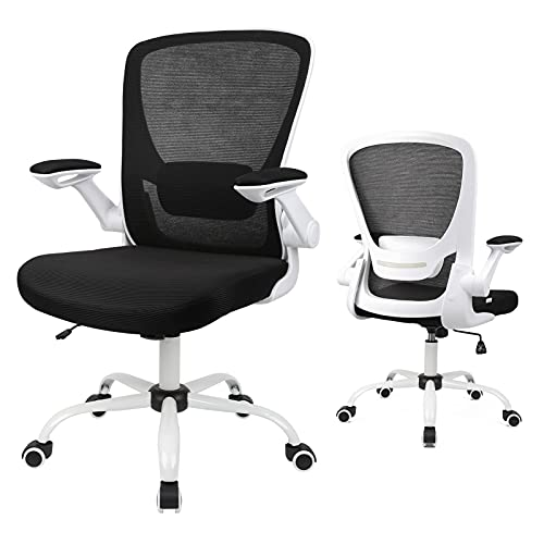 Home Office Chair, Ergonomic White Desk Chair Adjustable Mesh Computer Chair with Lumbar Support and Larger Seat Flip UP Armrest Swivel Rocking Executive Chair, 250Lbs Capacity