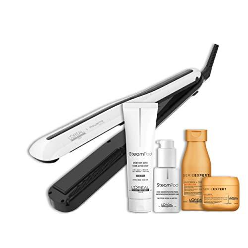 Steampod 3.0 - Pack Nutrition Cheveux Epais : Lisseur Cheveux Professionnel 2-en-1 : Lissage & Wavy + Sérum Concentré Protection Pointes + Crème vapo-activée + Shampoing Nutrifier + Masque Nutrifier