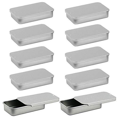 Gativs 10 Piezas Cajas de Metal Cajas Pequeñas Cajas de Almacenamiento pequeñas Contenedor Pequeña Caja Metal Contenedor Metálico Deslizante Cajas Organizador