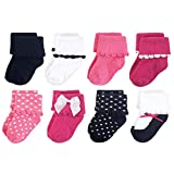 Luvable Friends Unisex Baby Fun Essential Socks, Black Pink Bow, 0-6 Months