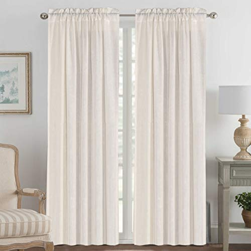 2 Panels Ultra Luxurious Natural Linen Blended Light Filtering Curtains Breathable and Airy Window Treatment Drapes with Rod Pocket Top for Bedroom, Extra Long 108 - Inch, Natural