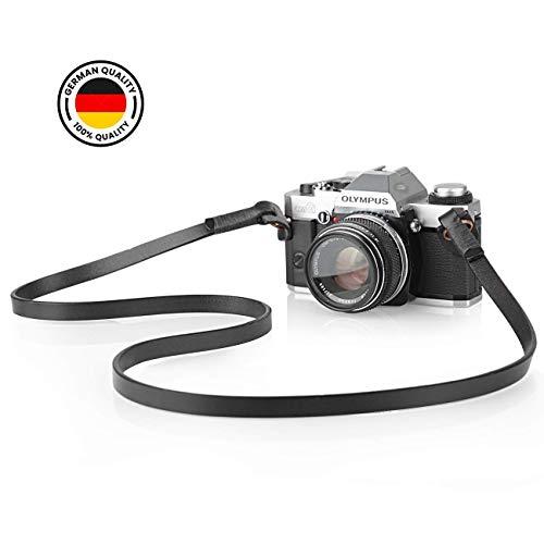 TARION Camera Strap Leather Vintage DSLR Camera Neck Straps Belt Handmade Genuine Leather Film Camera Shoulder Strap Cord Long for SLR Mirrorless Cameras L3 Black