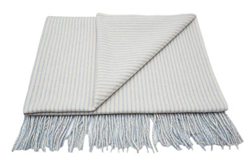 State Cashmere Luxe Stroller Baby Blanket with Fringes Cashmere Wool Blend Travel Wrap (Blue)
