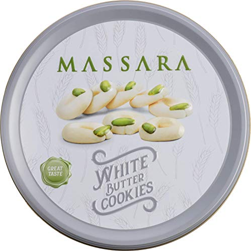 MASSARA White Butter Cookies in der 400gr Metalldose - Butterkekse mit Pistazien Kekse