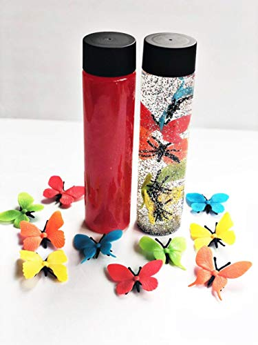 Best Deals! AVT Sensory Bottles for Girls – Butterfly Toy for 3 Year Old – Girl Gifts for 4 Year Old Child – Desk Toy Glitter Bottle – Timeout Calming Jar