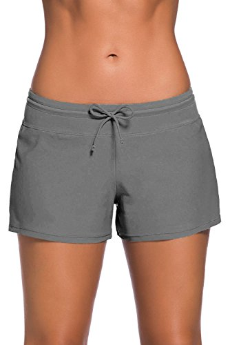 Yavero Shorts de Baño Mujer Bañador Short Deportes Acuáticos Shorts de Natación Secado Rápido Bikini Short Cortos con Cordón Ajustables Gris S