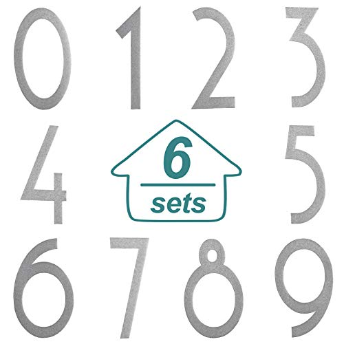 60 Pieces Mailbox Numbers Stickers Reflective Self Adhesive Vinyl Waterproof 0-9 Number Cute Decal Stickers DIY Decorations for Mailbox, Sign, Door, Car, Business, Address Number (Silver,3 Inches)