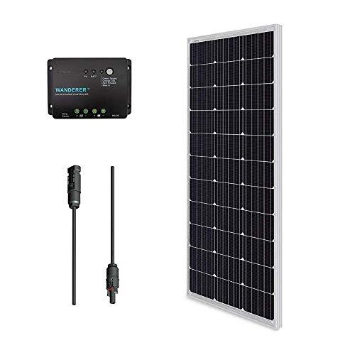Renogy Solar Kit Bundle 100W: 100W Monocrystalline Solar Panel UL Listed+MC4 Adaptor Cable+PWM 30A Charge Controller