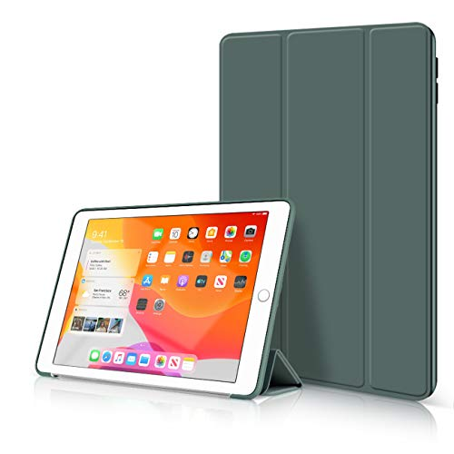 aoub iPad 2019 10.2 Inch Case Lightweight and Thin Anti-Falling Triple Holder Scratch-Resistant Silicone Honeycomb Back Shell with Auto Sleep Wake Call Protective Case iPad 7th Generation, Dark Green
