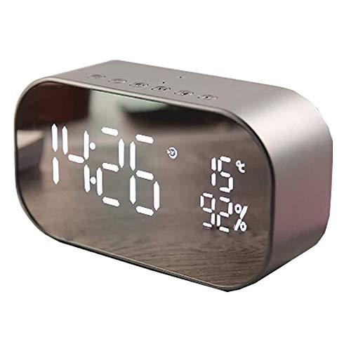 Angelay-Tian Radio Altavoz Bluetooth, Radio FM Bluetooth 4.2 Conexión, Reloj de Espejo LED for Dormitorio Inicio de Audio de Escritorio (Size : B)