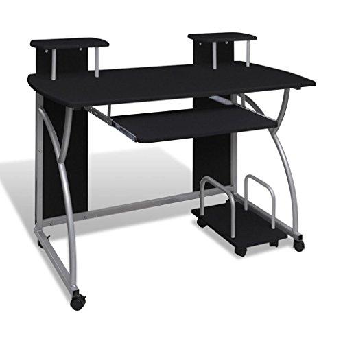 vidaXL Computertisch Schwarz Schreibtisch Büro Computerwagen PC Tisch Laptop