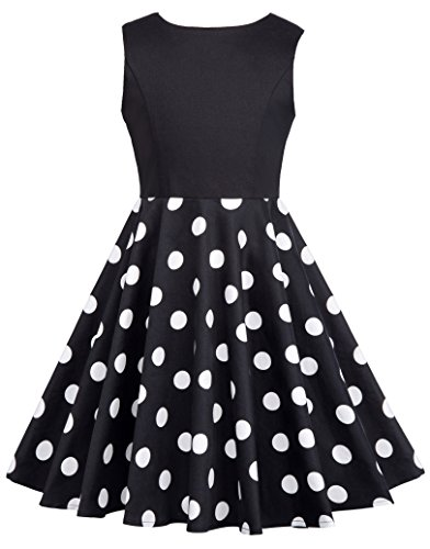 GRACE KARIN Retro Maedchen Kleid Aermellos Blumen Kleid 10-11 Jahre CL10600-1