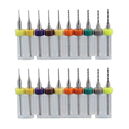 perfk Kit de 20 Brocas para PCB, Brocas de Carburo de Tungsteno para Carpintería, 0,15 1,05 Mm