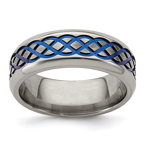 ICE CARATS Edward Mirell Titanium Blue Anodized Brushed 8mm Wedding Ring Band Size 8.00 Man Fancy Designed Celtic Fashion Jewelry for Dad Mens Gifts for Him