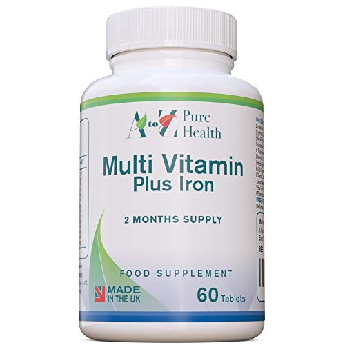 A to Z Pure Health Multivitamin Tablets (2 Months' Supply) | 60 Multivitamins and Minerals Tablets | 14 Essential Vitamins & Minerals | Made in The UK