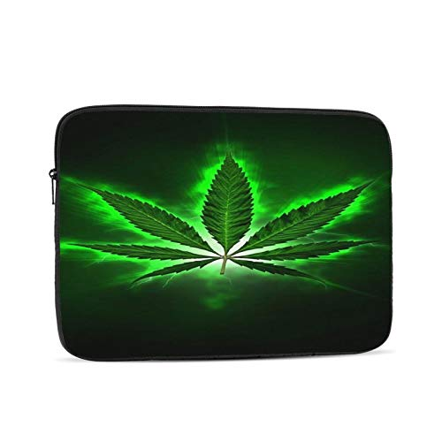 Laptop Sleeve Bag Green Marijuana Leaf Weed Portable Zipper Tablet Cover Bag Notebook Computer Protective Bag,Black