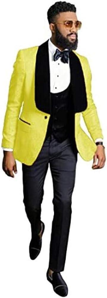 LIBODU Embroidered One Button Notch Lapel Men Suits 3 Pcs Prom Grooms Wedding Tuxedo Business Suits
