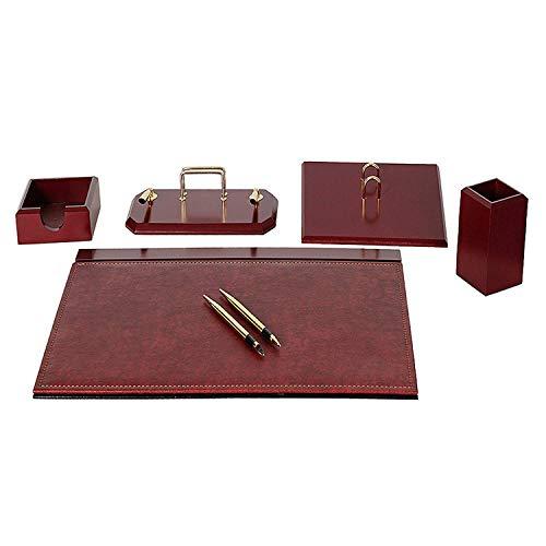 Flash 6 tlg Schreibtisch Organizer Set, Schreibtischset Holz aus Kunstleder mit aufklappbare Schreibunterlage Leder in 4 Farben, Farbe:Bordeaux