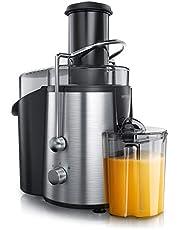 Arendo - Sapcentrifuge roestvrij staal elektrisch - 700 ml sapcentrifuge, 1700 ml druiprek - 2 snelheden - roestvrijstalen zeef - met stamper - veiligheidsbeugel - groenten en fruit juicer