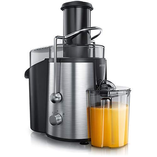 Arendo - Entsafter Edelstahl 800 Watt für Obst und Gemüse in - Zentrifugaler Entsafter Juicer - elektrisch - 2 Geschwindigkeitsstufen - Überhitzungsschutz - Sicherheitsbügel -BPA-frei