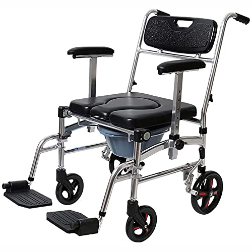 Z-SEAT Multifunctional Mobile Toilet Chair with Wheels Toilet Wheelchair, Folding Mobile Toilet Chair with Wheels