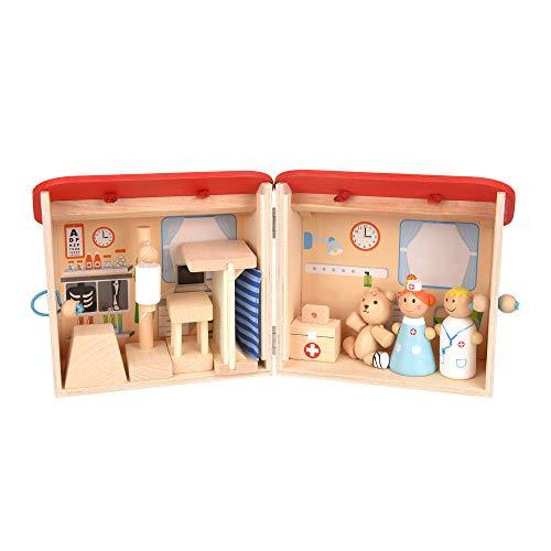 ewtshop® Krankenhaus-Spielset für Kinder aus natürlichem Holz
