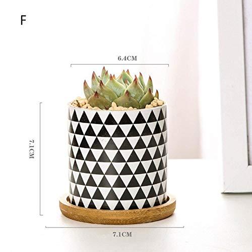 Houer Keramiek Zwart Wit Bloempot Bonsai Kleine potten voor Bloemen Vetplant Tuin Balkon Decoratie Bloempot, F