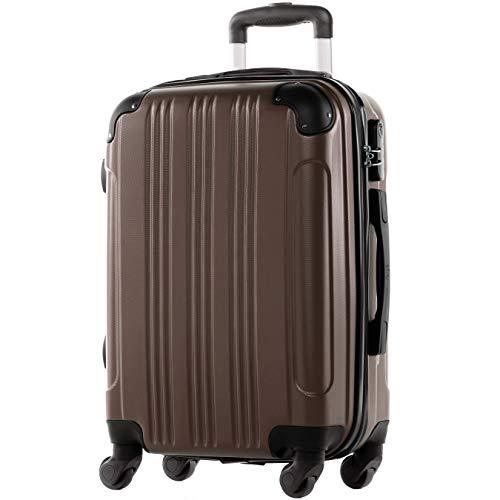 FERGÉ Handgepäck-Koffer Hartschale QUÉBEC Bordgepäck Rollkoffer 55 cm Reisekoffer Kabinen-Trolley 4 Rollen 100% ABS café