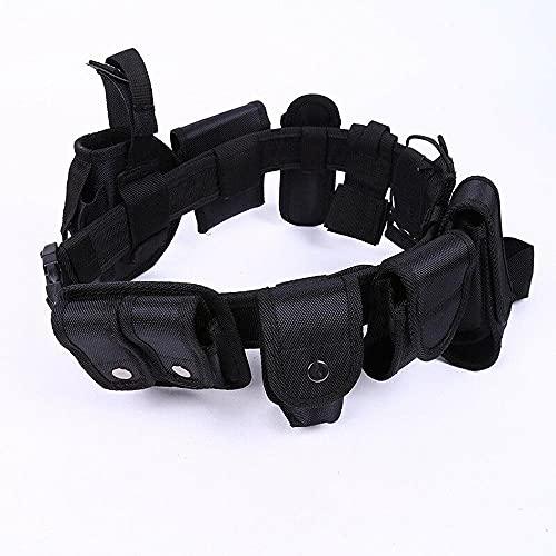 ATIN Hebillas tácticas del guardia de la policía del cinturón con 9 bolsas/utilidad/equipo de seguridad