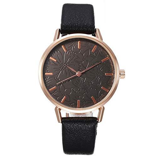 ZSDGY Reloj de Estudiante para Mujer, Reloj de Pulsera de Cuarzo de Moda con Flores de Alivio Creativo E