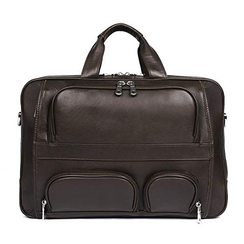 Heren mode schoudertas diagonaal pakket, heren schoudertas leder business herentas Big Bag aktetas van leer 17-inch laptoptas