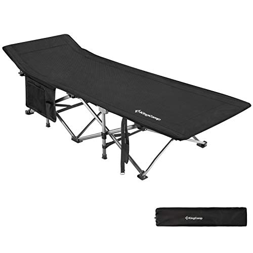 """KingCamp Folding Camping Cot for Adults Heavy Duty Support to 440lbs, Large Size 82""""x30"""" Study Portable Sleeping Cots for Camp Office Backyard Beach Use, Black"""