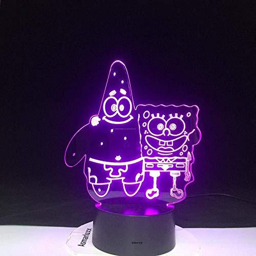 Festival Lámpara de Ilusión 3D Luz de Noche Led Patrick Bob Esponja Acrílico 7 Colores Lámpara de Escritorio Novedad Pantalones Cuadrados Visión Estéreo Habitación de Bebé para Niños Decoración Del Ho