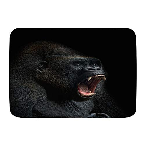 HATESAH Bathroom Rugs Bath Mat,Animal ape Monkey Gorilla Silverback Teeth Portrait Close-up Mountain Africa Emotions,Non Slip Shower Mat Super Cozy Floor Rug Doormats Carpets Bathroom Decorations