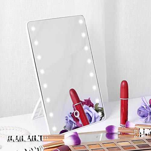 Verlichte Make-up Spiegel, Led Verlichte Vanity Spiegel met Touch Screen, 180° Rotatie, Dubbele kracht, 16LED Dimbaar Tafelblad Verlichte Cosmetische Vanity Spiegel voor Vrouwen Mannen Meisjes Cosmetische Make-up
