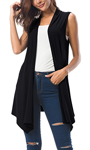 Urban GoCo Donna Senza Maniche Draped Cardigan Gilet (Small, Nero)