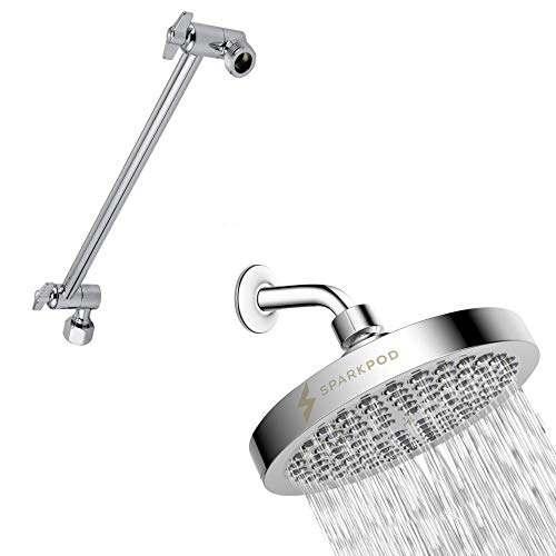 "SparkPod Chrome Rain Shower Head Chrome & Matching 11"" Shower Arm Extension"