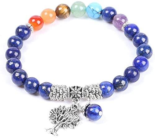 KEEBON Pulsera con Cuentas Perlas de Piedra Natural Pulseras Lapis Lazuli 7 Chakra Cuerda Elástica Árbol de Vida Joyería de Moda para Mujeres Hombres Brazaletes (Color : A)