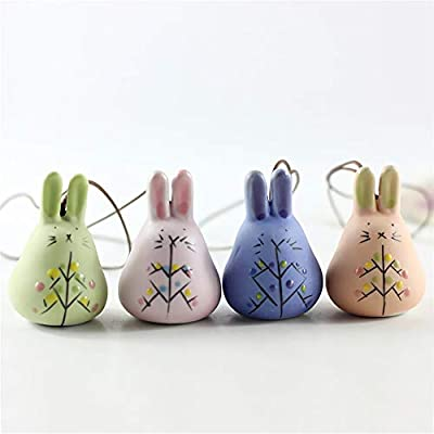Little Boy 8Pcs Japanese Ceramic Wind Chimes Long-Eared Rabbit Wind Bells Garden Chime Hanging Bell Indoor/Outdoor Garden Deco, Gift for Thanksgiving, Christmas