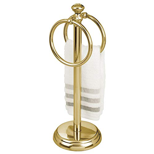 mDesign Toallero pequeño para el lavabo – Portatoallas de pie con 2 anillas para pequeñas toallas de invitados – Soporte para toallas compacto de metal – dorado
